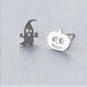 🎃👻925 STERLING SILVER Pumpkin Ghost Earrings